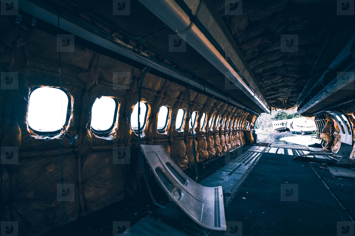 Ruined fuselage of airplane
