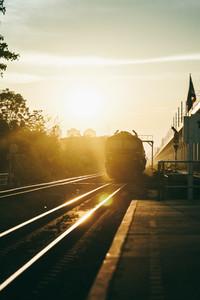 Train running on the railway
