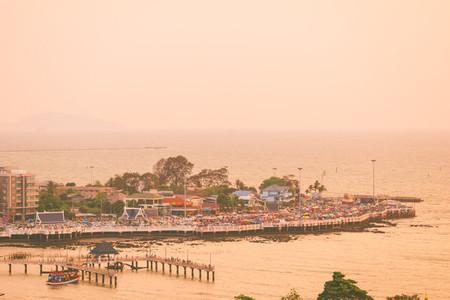 Street market beside sea
