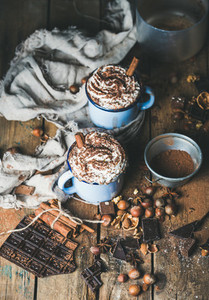 Hot chocolate with whipped cream nuts spices cocoa powder