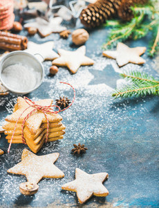 Christmas star shaped gingerbread cookies with cinnamon  anise and nuts