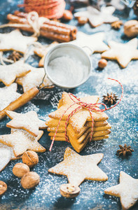 Homemade gingerbread cookies with cinnamon  anise and nuts  plywood background