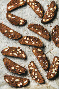 Dark chocolate and sea salt Biscotti on wax paper