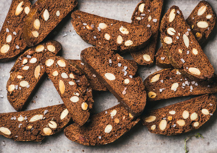 Dark chocolate and sea salt Biscotti on baking paper