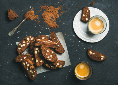 Biscotti with sea salt and almonds  two glasses of espresso