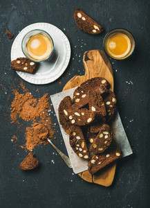 Dark chocolate Biscotti with sea salt  almonds and espresso