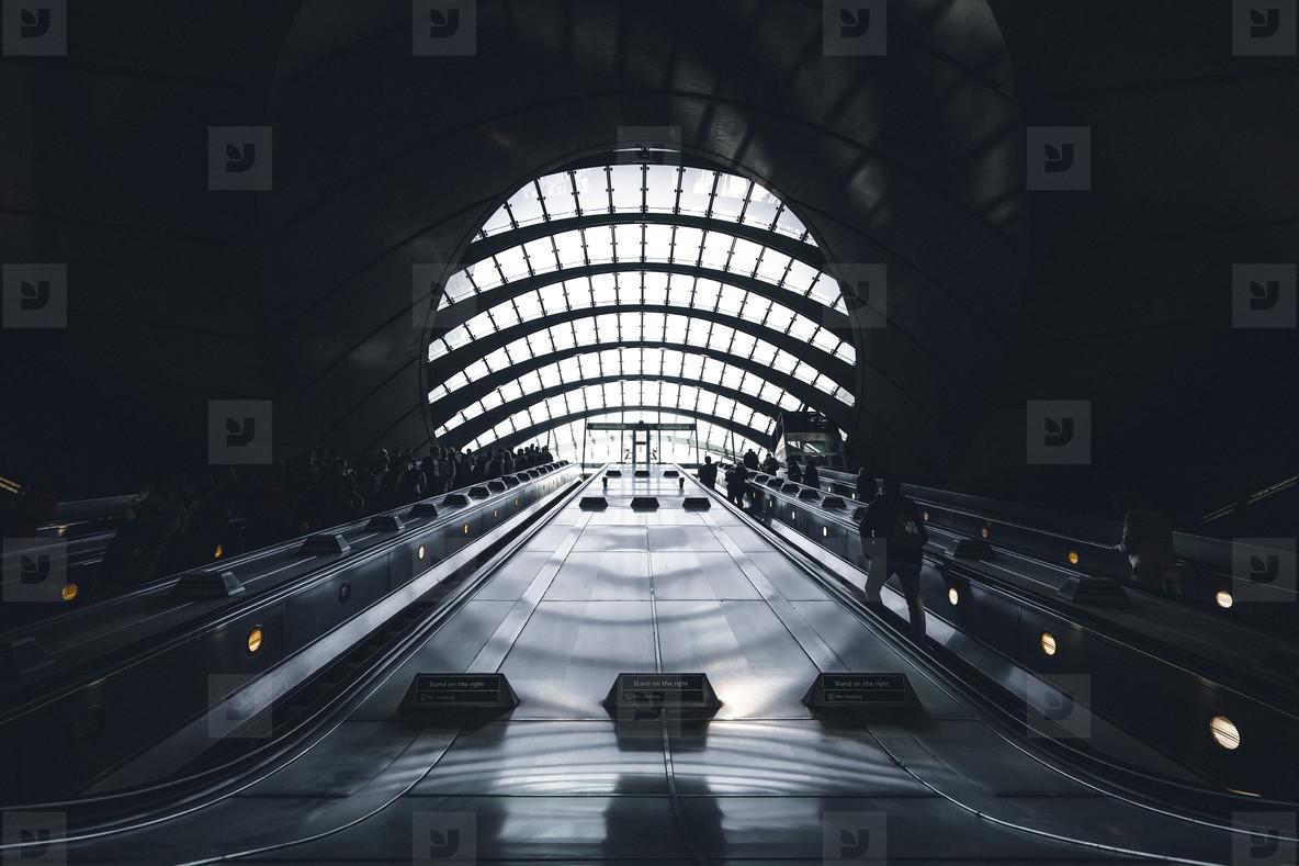 Abstract underground escalator