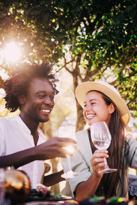 Cute couple enjoying wine