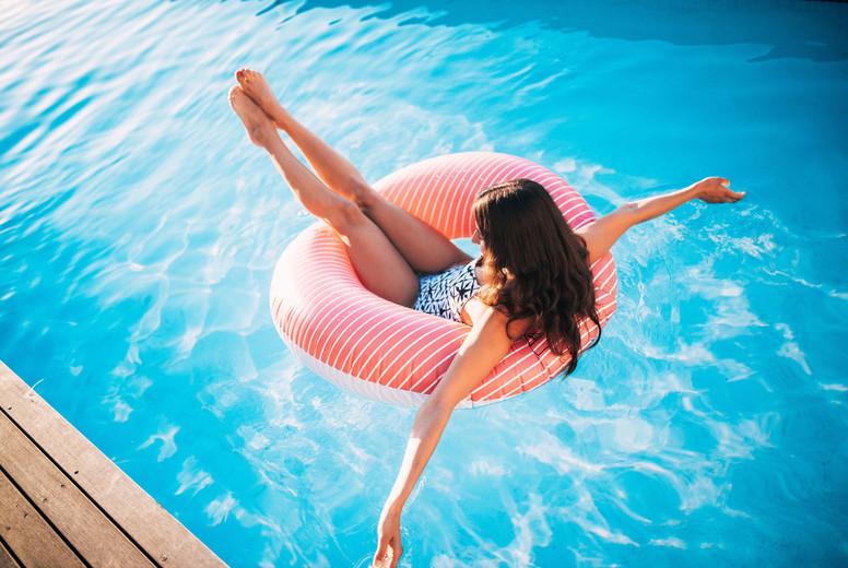 Woman having fun at pool