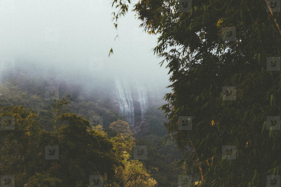 Waterfall in misty forest
