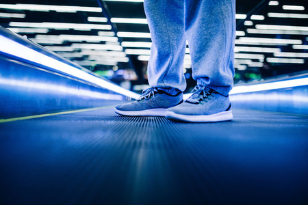 Close up of sneakers at night