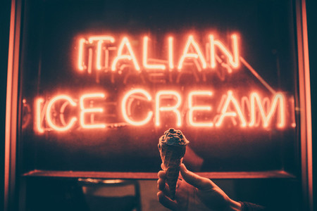Ice Cream board at night