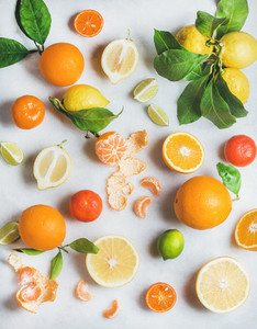 Variety of fresh citrus fruit for making healthy smoothie