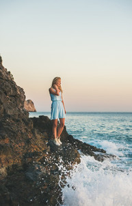 Young blond woman looking at horizon and smiling  Alanya  Turkey
