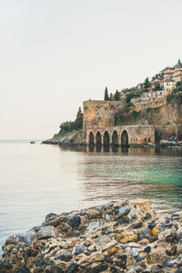 Alanya medieval fortress wall shipyard and Mediterranean sea Turkey