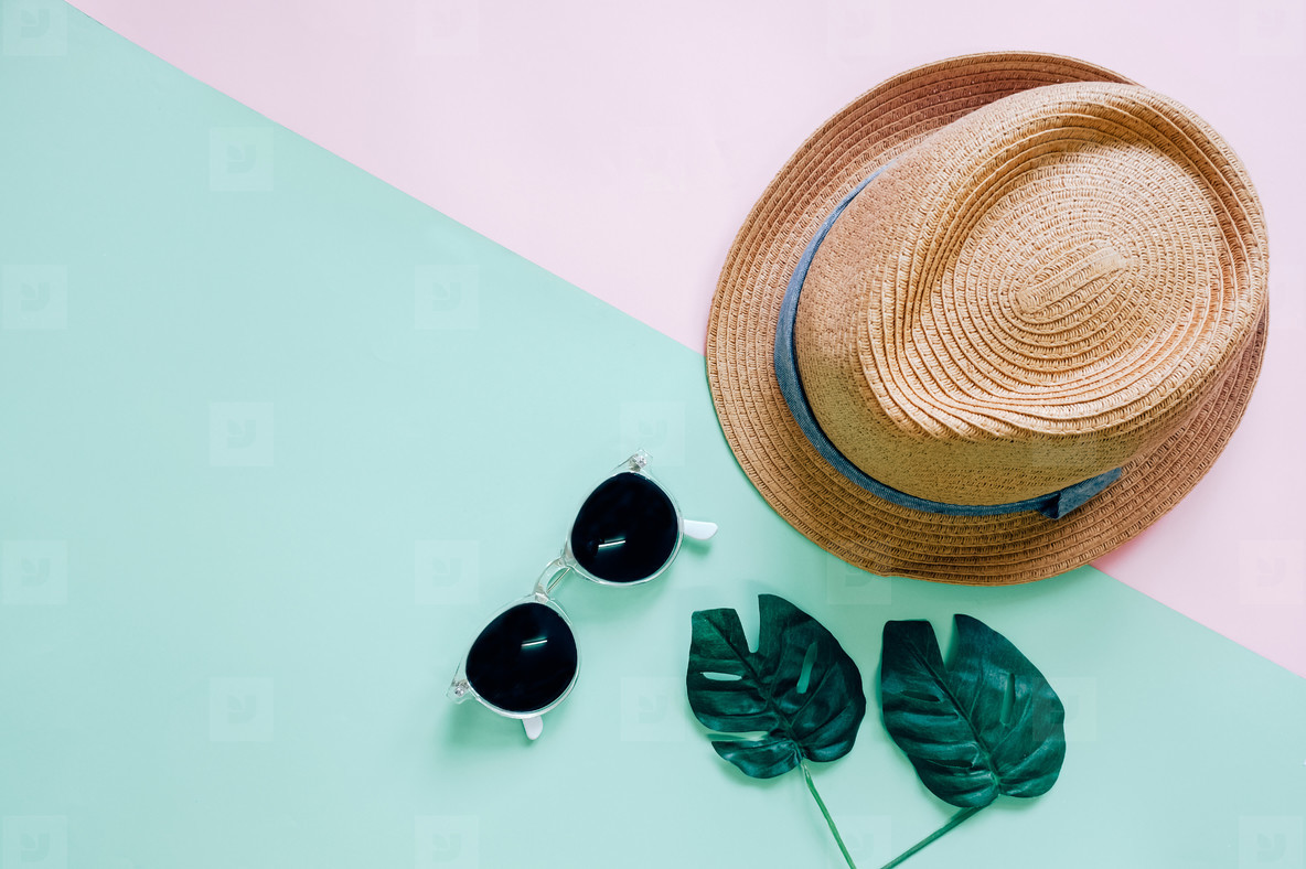 Flat lay of summer items