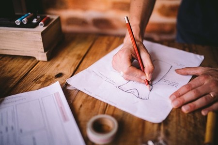 Designer drawing sketches