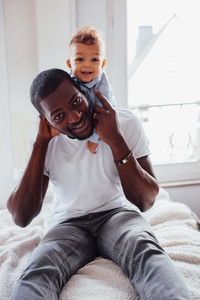 African Father and toddler son