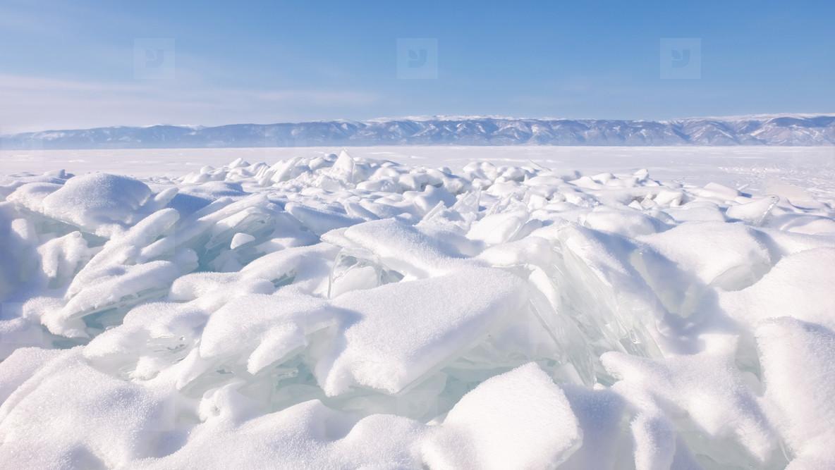 Ice blocks at frozen