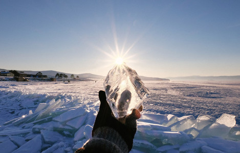 Ice floe crystrals  Lake Baikal
