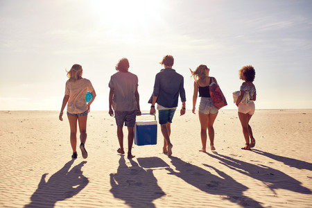 Group of young people on the beach carrying a cooler box