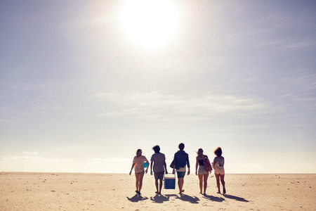 Group of friends on beach vacation