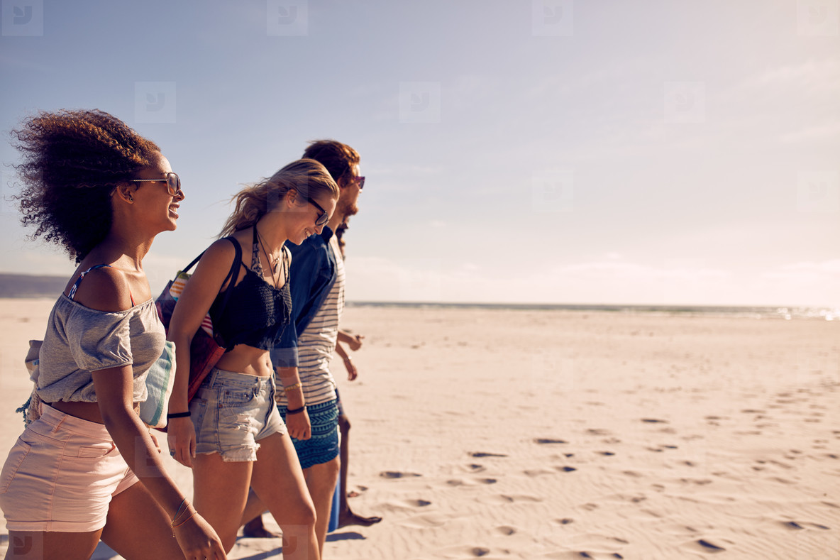 Friends on the beach together
