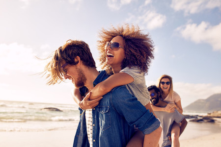 Young friends enjoying a day at beach