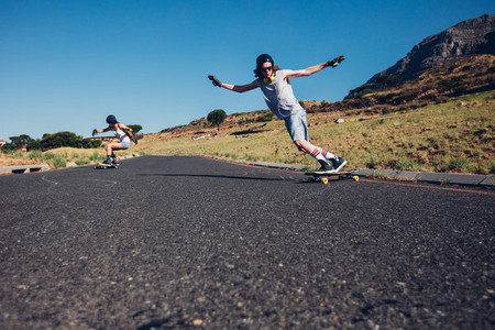 Skateboarding on the rural road
