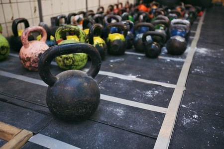 Kettlebell weights at a fitness club