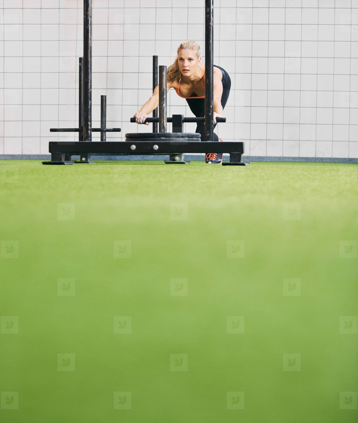 Fit young female using prowler exercise equipment at gym