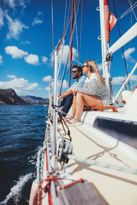 Young couple on a boat ride