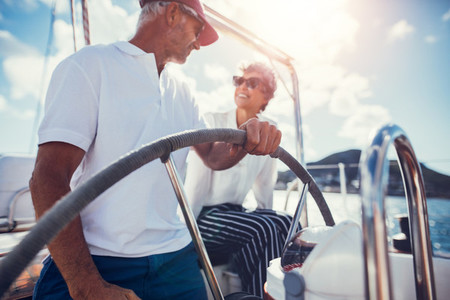 Senior couple on boat trip