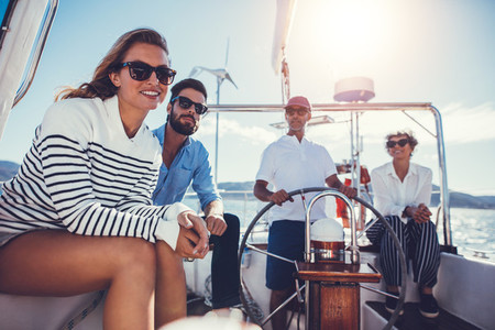 Group of people enjoying a boat ride together