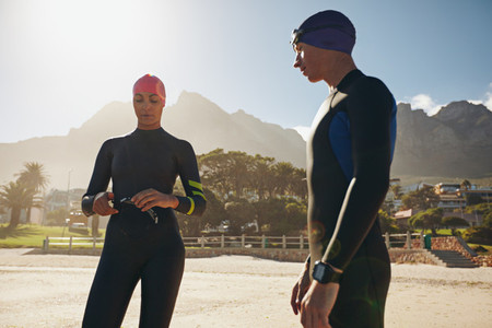 Triathletes preparing for the race