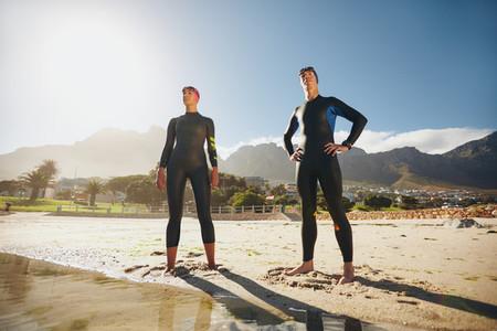 Two athletes ready for triathlon