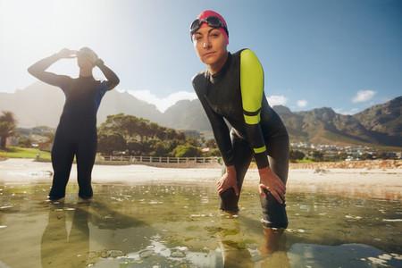 Triathlon training at the lake