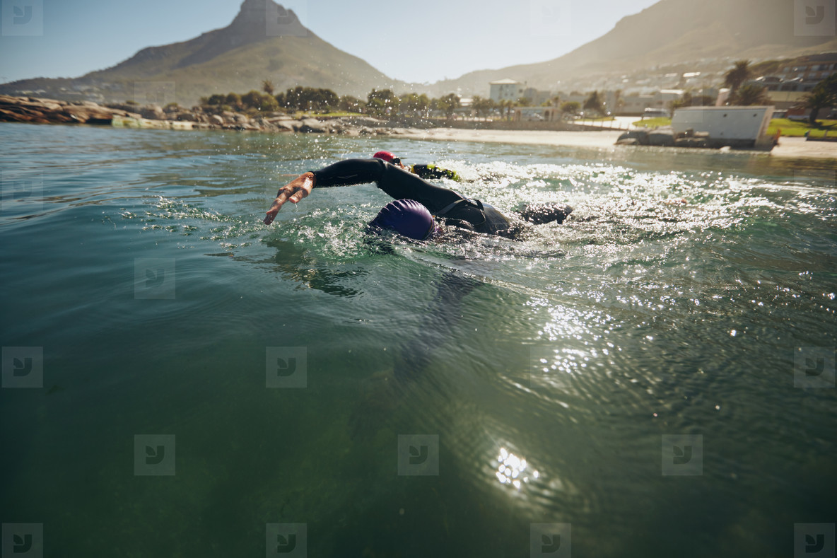 Athletes in the swim event of a triathlon competition