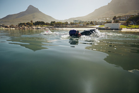 Athlete practicing for the triathlon
