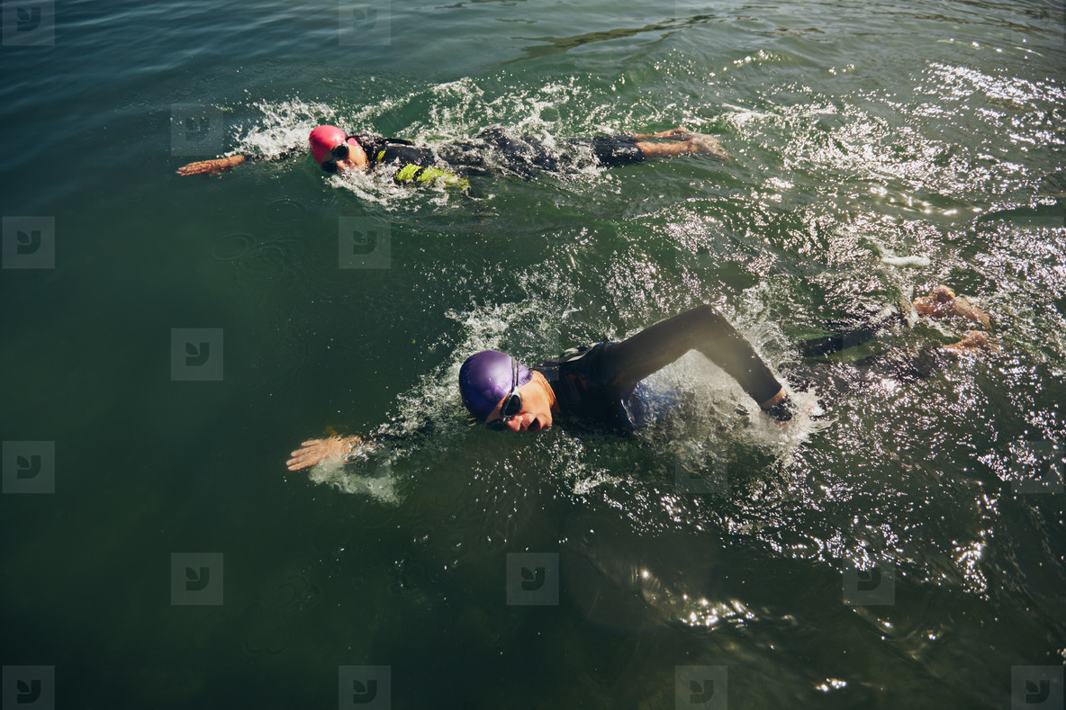 Swim portion of triathlon competition