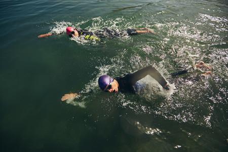 Swim portion of triathlon competition