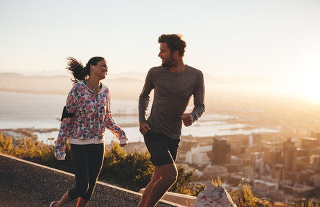 Young couple enjoying morning run