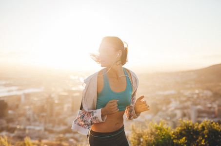 Young woman on morning run