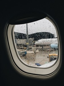 Raindrops on airplane039s window