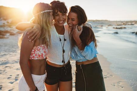 Group of beautiful young women enjoying beach vacation