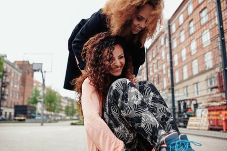 Young women having fun outdoors