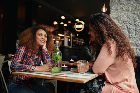 Young women sitting in a restaurant talking