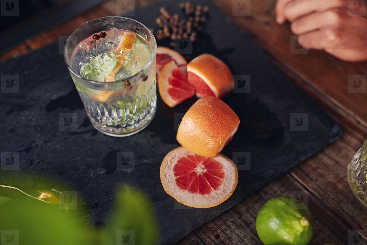 Freshly prepared cocktail drink