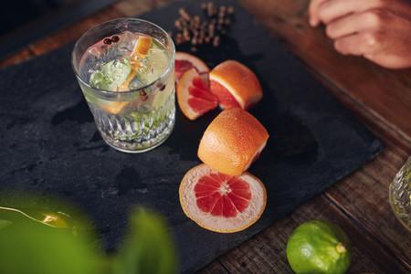 Freshly prepared cocktail drink