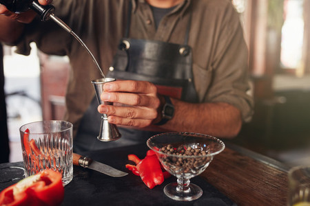 Barman preparing exotic cocktail